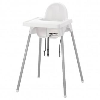 IKEA ANTILOP Scaun inalt cu tava, argintiu alb, arginti