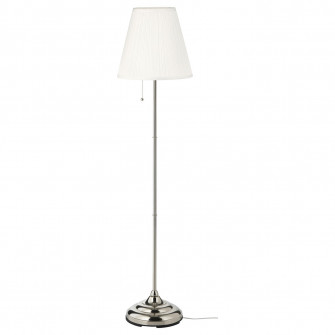 IKEA ARSTID Lampadar, nichelat, alb