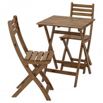 IKEA ASKHOLMEN Masa+2 scaune exterior, vopsit gri-maro