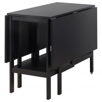 IKEA BARSVIKEN Masa cu extensie plianta, negru, 45/90/1
