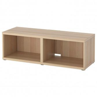 IKEA BESTA Comoda TV, aspect stejar antichizat, 120x40x