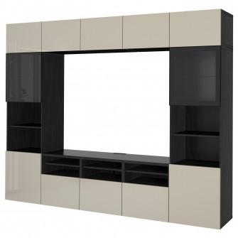 IKEA BESTA Ansamblu depozitare TV/usi sticla, negru-mar