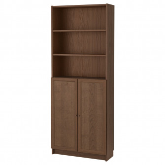 IKEA BILLY / OXBERG Biblioteca+usi, maro furnir frasin,
