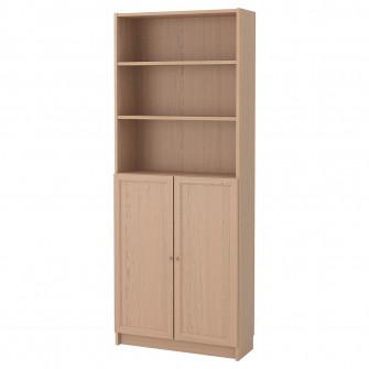 IKEA BILLY / OXBERG Biblioteca+usi, furnir stejar alb,