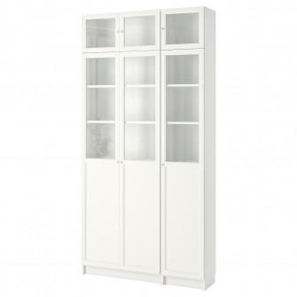 IKEA BILLY / OXBERG Biblioteca, alb, sticla, 120x30x237