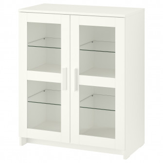 IKEA BRIMNES Corp cu usi, sticla, alb, 78x95 cm