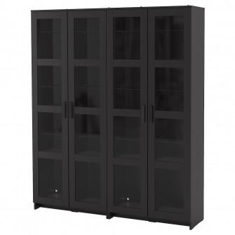 IKEA BRIMNES Ansamblu depozitare+usi sticla, negru, 160