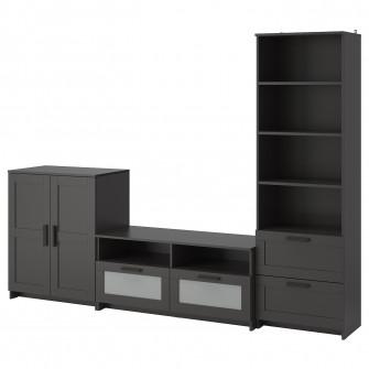 IKEA BRIMNES Ansamblu depozitare TV, negru, 258x41x190
