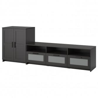 IKEA BRIMNES Ansamblu depozitare TV, negru, 258x41x95 c