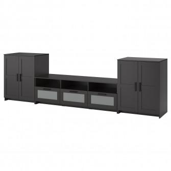 IKEA BRIMNES Ansamblu depozitare TV, negru, 336x41x95 c