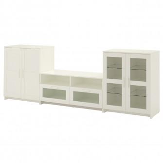 IKEA BRIMNES Ansamblu depozitare TV/usi sticla, alb, 27