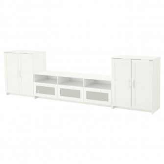IKEA BRIMNES Ansamblu depozitare TV, alb, 336x41x95 cm