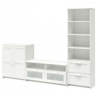 IKEA BRIMNES Ansamblu depozitare TV, alb, 258x41x190 cm