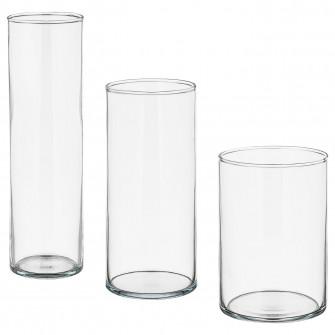 IKEA CYLINDER Set 3 vaze, sticla transparenta
