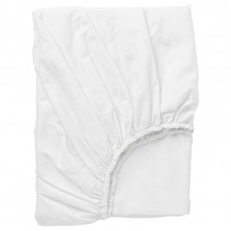 IKEA DVALA Cearsaf cu elastic, alb, 120x200 cm