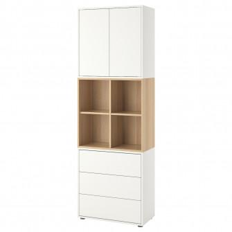 IKEA EKET CombinaTie corp cu picioare, alb, aspect stej