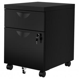 IKEA ERIK Comoda 2 sertare rotile, negru