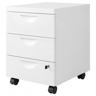 IKEA ERIK Comoda 3 sertare cu rotile, alb