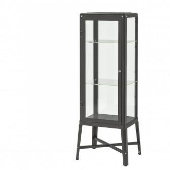 IKEA FABRIKOR Corp cu usa de sticla, gri inchis, 57x150