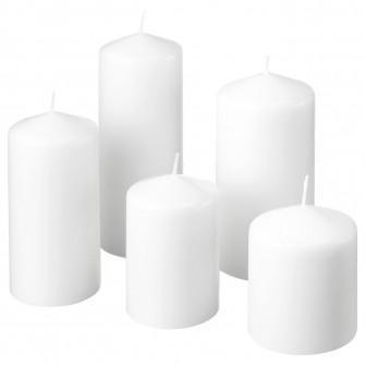 IKEA FENOMEN Set lumanari bloc, 5buc, alb