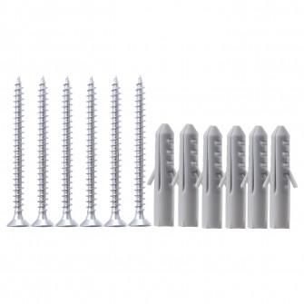 IKEA FIXA Set holzsurub+dibluri 12 buc, argintiu, gri