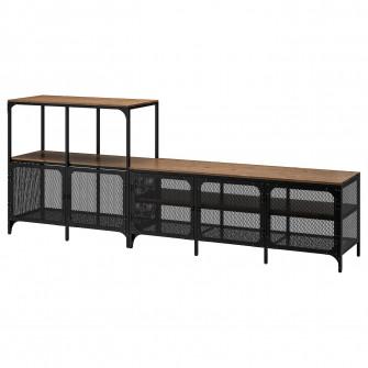 IKEA FJALLBO Ansamblu depozitare TV, negru, 250x36x95 c