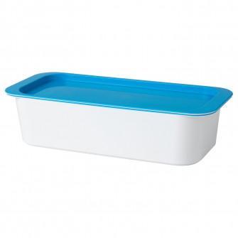 IKEA GESSAN Cutie cu capac, alb/albastru, 30x13x8 cm
