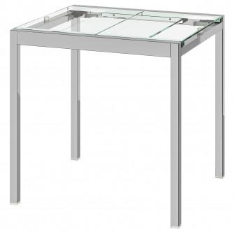 IKEA GLIVARP Masa extensibila, transparent, cromat, 75/