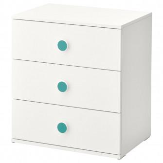 IKEA GODISHUS Comoda 3 sertare, alb, 60x64 cm