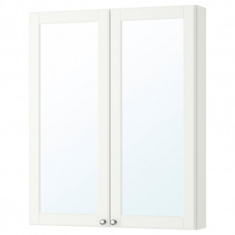 IKEA GODMORGON Dulap oglinda cu 2 usi, Kasjon alb, 80x1