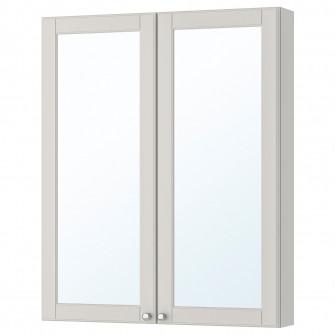 IKEA GODMORGON Dulap oglinda cu 2 usi, Kasjon gri, 80x1