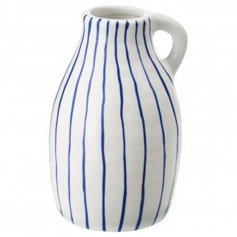 IKEA GODTAGBAR Vaza, ceramica alb/albastru, 14 cm