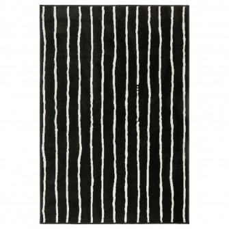 IKEA GORLOSE Covor, fir scurt, negru/alb, 133x195 cm