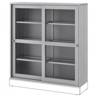 IKEA HAVSTA Corp cu usa de sticla, gri, 121x35x123 cm