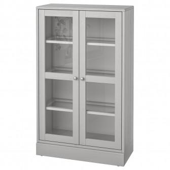 IKEA HAVSTA Corp usi sticla cu plinta, gri, sticla tran