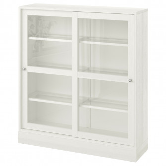 IKEA HAVSTA Corp usi sticla cu plinta, sticla alb, 121x
