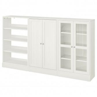 IKEA HAVSTA Ansamblu depozitare+usi sticla, alb, 243x37