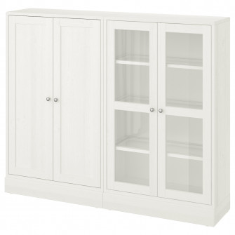 IKEA HAVSTA Ansamblu depozitare+usi sticla, alb, 162x37