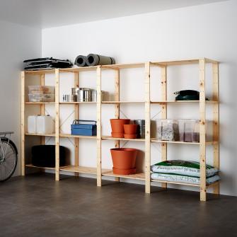IKEA HEJNE 4 sectiuni/polite, lemn conifere, 307x50x171