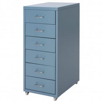 IKEA HELMER Comoda cu rotile, albastru