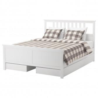IKEA HEMNES Cadru pat cu 4 cutii depozitare, vpst alb,