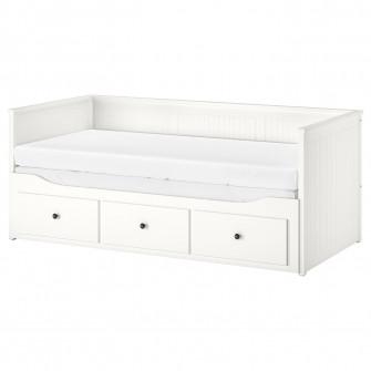 IKEA HEMNES Cadru divan cu 3 sertare, alb