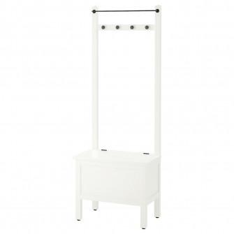IKEA HEMNES Banca depozitare/bara/4 carlige, alb, 64x37