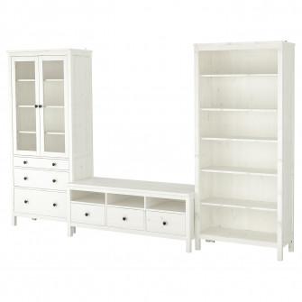 IKEA HEMNES Ansamblu depozitare TV, vpst alb, sticla tr
