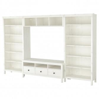 IKEA HEMNES Ansamblu depozitare TV, vpst alb, 326x197 c