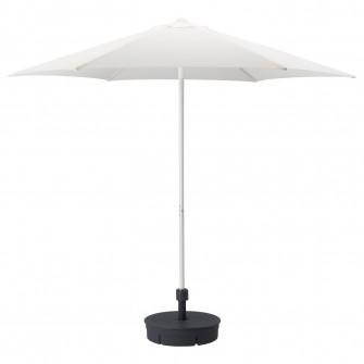 IKEA HOGON Umbrela+baza, alb, Gryto gri inchis, 270 cm