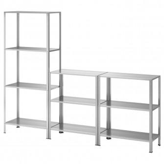IKEA HYLLIS Etajera interior/exterior, 180x27x74-140 cm