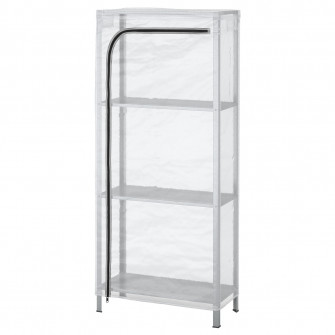 IKEA HYLLIS Etajera cu husa, transparent, 60x27x140 cm