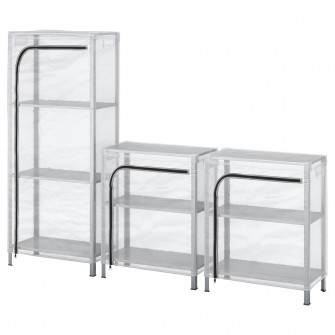 IKEA HYLLIS Etajere cu huse, transparent, 180x27x74-140