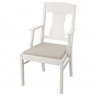 IKEA INGATORP Scaun cu brate, alb, Nordvalla bej
